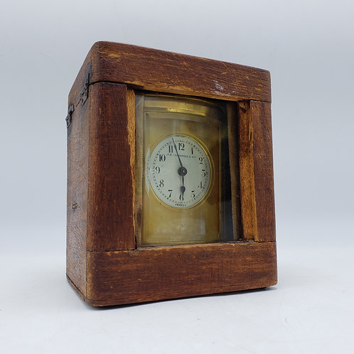 Vintage JE Caldwell Carriage Clock in Leather Case
