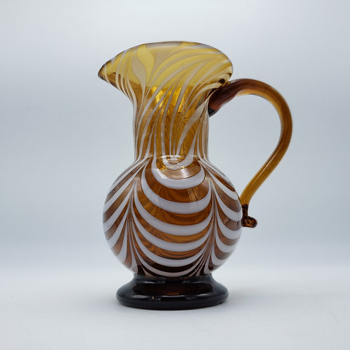 Signed Art Glass Feathered Brown Pitcher by Liberty Village