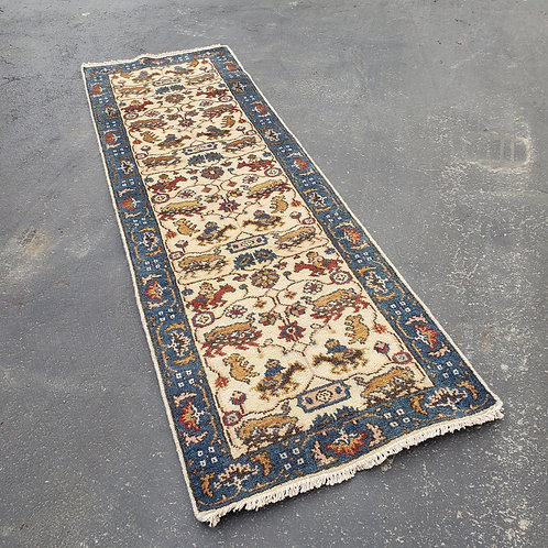 """Hand Knotted Wool Yellow Runner Rug with Blue Border ~ 2' 6"""" x 8'"""