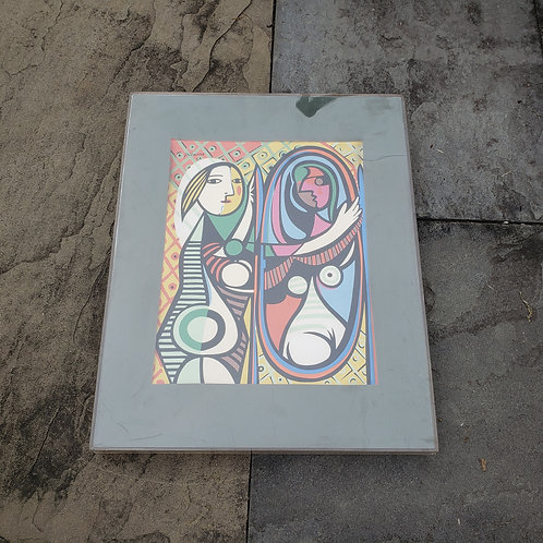 Girl Before a Mirror Picasso Print in Lucite Frame