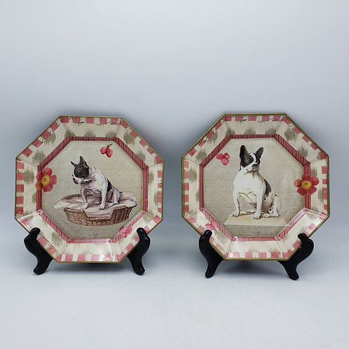 Two Pink Flamingo Dog Octagonal Plates