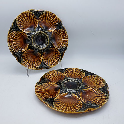 Pair of French Sarreguemines Majolica Oyster Plates