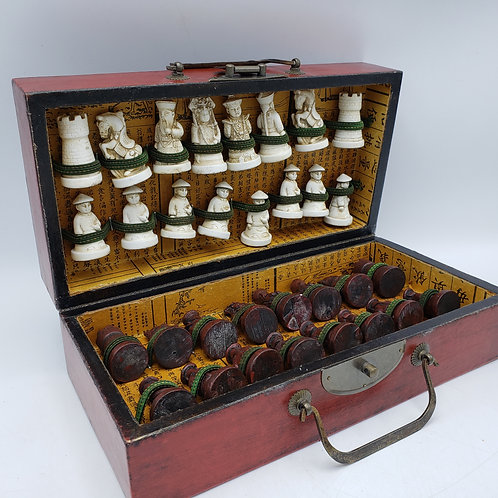 Vintage Faux Ivory Asian Chess Set in Travel Box