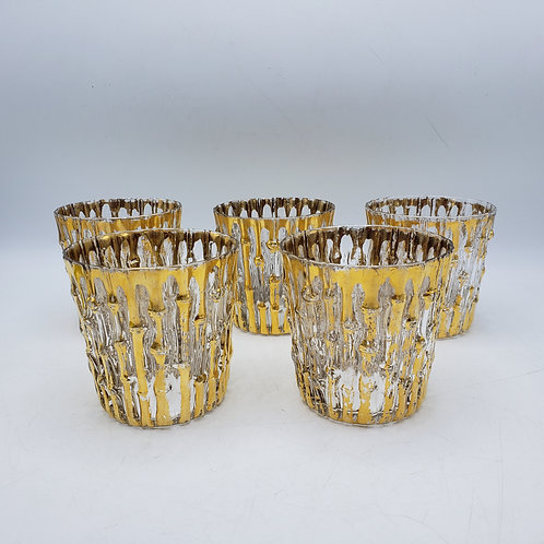 Set of 5 Vintage Imperial Gold Bamboo Glasses