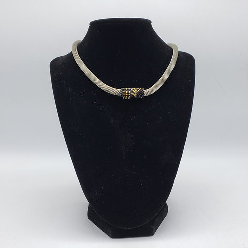 Mesh Choker Necklace with Beads & Magnetic Closure