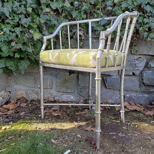 Vintage French Jacques Adnet Style Faux Bamboo Chair