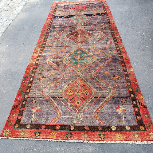 """Hand Knotted 100% Wool Red Rug with Multicolored Design ~ 4' x 10' 9"""""""