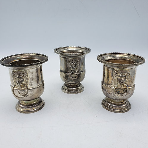 Small Set of 3 Miniature Urns with Lions - Toothpick Holders