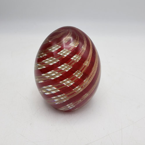 Red & Gold Striped Egg Shaped Glass Paperweight