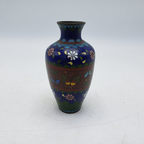 Small Blue Floral Champlevé Vase with Butterflies
