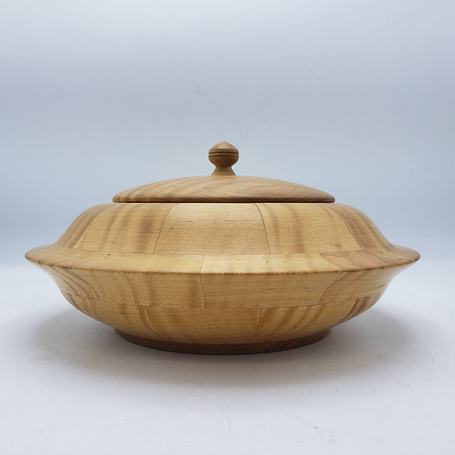 Maple Wood Covered Bowl Signed S.E. Livermore