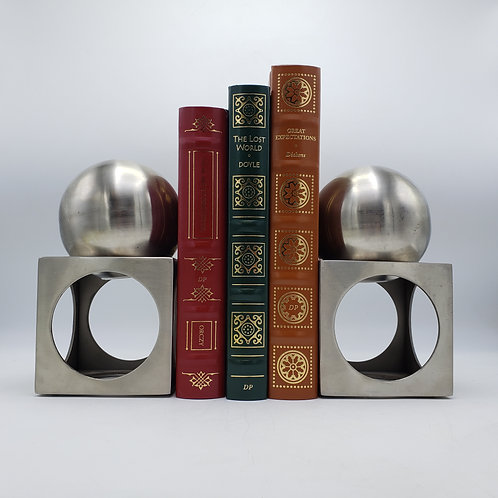 Modernsist Brushed Chrome Ball and Box Bookend Sculptures