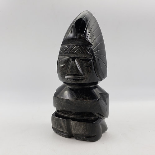 Vintage Carved Black Stone Obsidian Mayan Aztec Mexican Statue