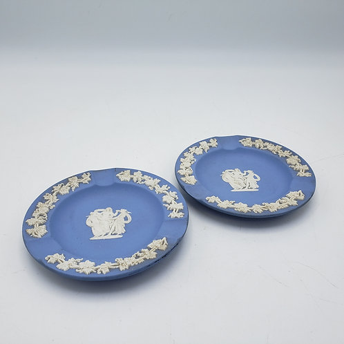 Pair of Blue Wedgwood Jasperware Asytrays Trays with Classical Decoration