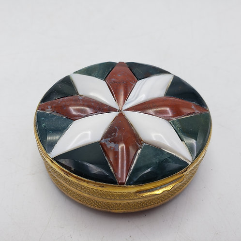 Stone Star & Agate Pill Box with Gilt Gold