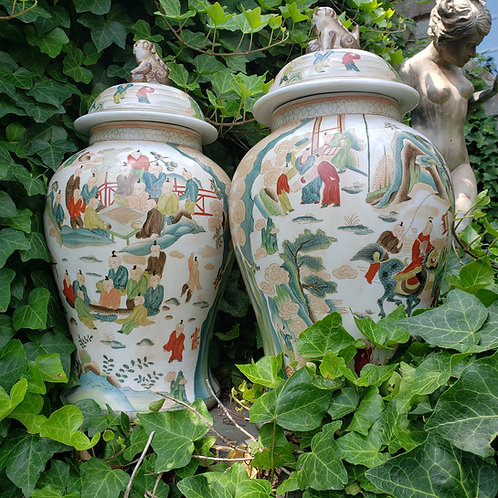 Pair of Large Asian Ginger Jars with Foo Dog Finials