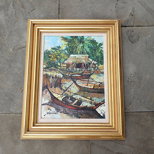 """""""River Scene"""" by Livisit Noparat (Thailand) Painting 1975"""