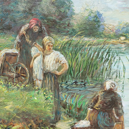 Print of Woman Working by Water