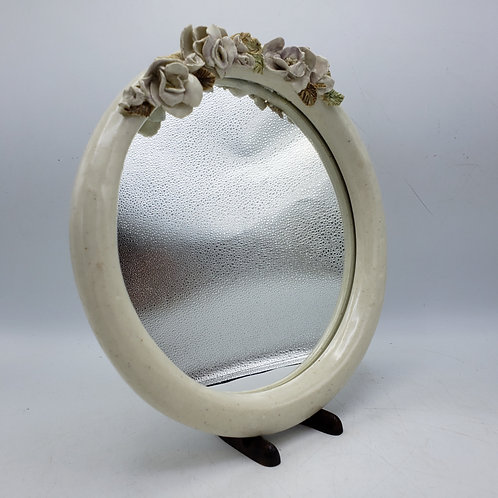Round Mirror with Porcelain Flowers
