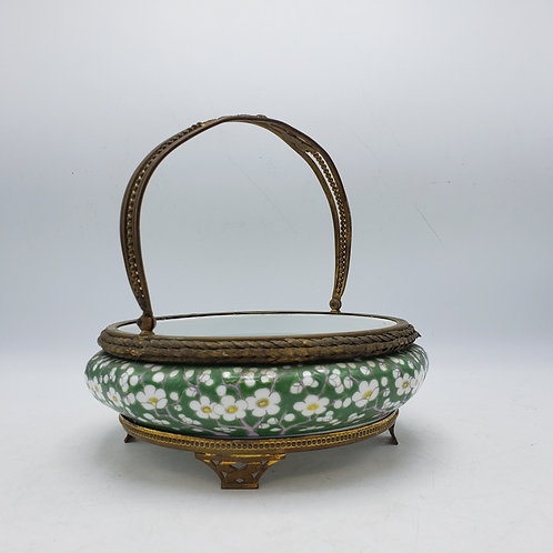 Green Floral Porcelain Dish with Gold Gilt Mounted Rim & Base with Handle