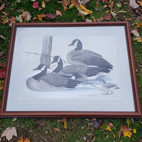 Vintage Signed Duck Lithograph with Original Remarque Watercolor Drawing