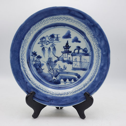 Vintage Chinese Canton Blue and White Porcelain Plate