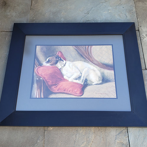 Antique Original Painting of Dog on Sofa