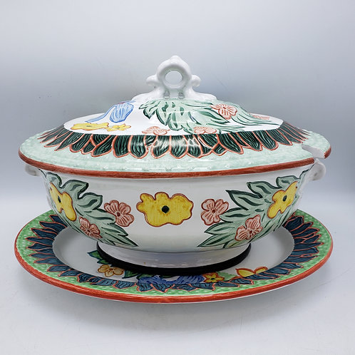 Handpainted Signed Deruta Soup Tureen with Underplate