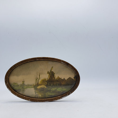 Antique Miniature Painting of Windmill in Oval Frame
