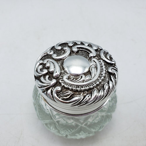 Vintage Avon Glass Jar with Silver Toned Lid