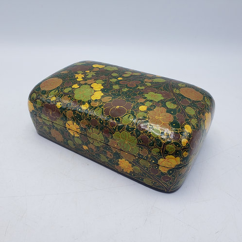 Large Green Floral Black Lacquered Box Made in India