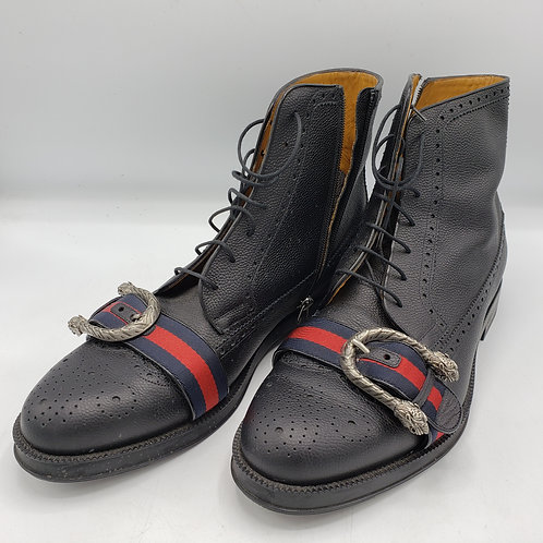 Gucci Black Dionysus Queercore Brogue Men's Boots with Web Stripe