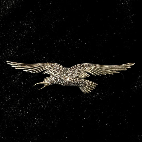 Vintage Sterling Silver Eagle in Flight Pin with Rhinestones