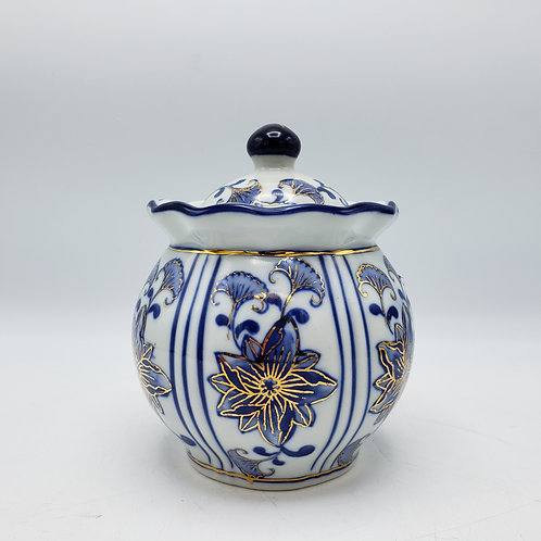 Small Blue and White Asian Lidded Jar