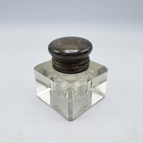 Vintage Crystal Inkwell with Monogrammed Sterling Silver Lid