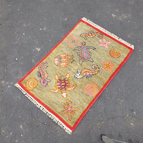 "Small Seahorse Hand Knotted Wool Rug ~ 1' 11"" x 3' 4"""