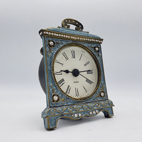 Blue Enamel Battery Operated Desk Clock with Jewel Details