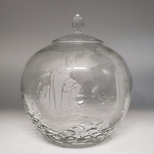 Large Signed Ajka Asian Theme Etched Glass Melon Vase with Lid