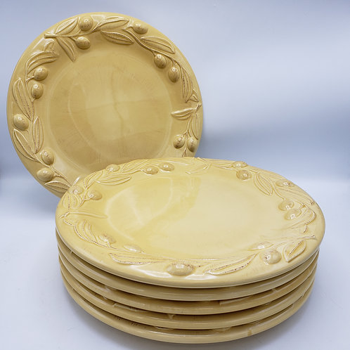 Set of 6 Large Yellow Italian Plates with Olive Branches