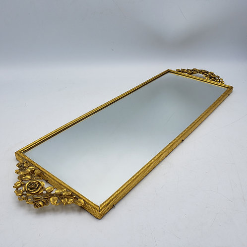 Vintage Gold Gilt Vanity Mirror with Roses