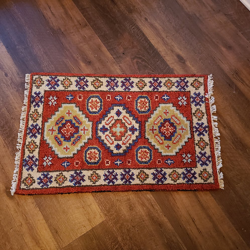 Handknotted 100% Wool Red Rug with 3 Diamonds