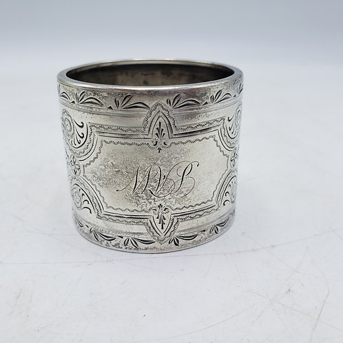 Vintage Sterling Silver Monogrammed Napkin Ring with Flowers