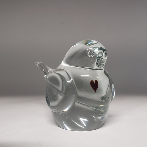 Signed Studio Glass Bird with Heart Paperweight