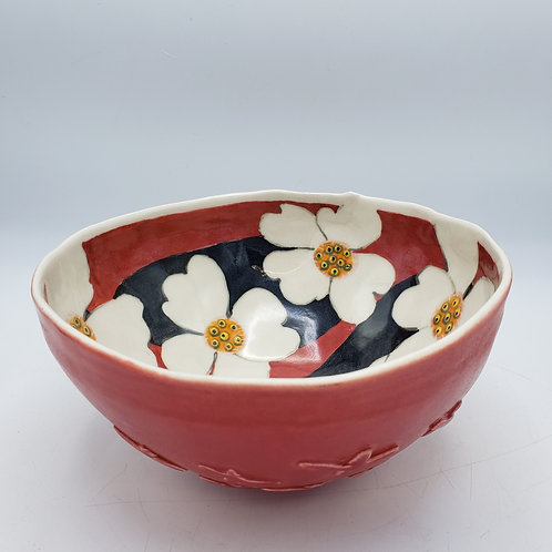 Signed Studio Art Red & Black Pottery Bowl
