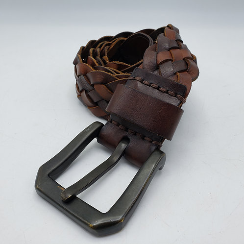 Brown Braided Belt with Moose  H Buckle Black Leather Belt