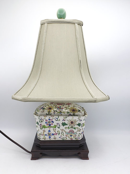 Floral Asian Lamp with Shade & Jade Finial