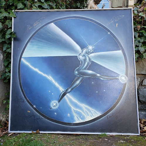 Large Signed by the Band Jefferson Starship Painting on Canvas - Paul Kantner