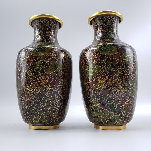 Pair of Brown Floral Cloisonne Vases
