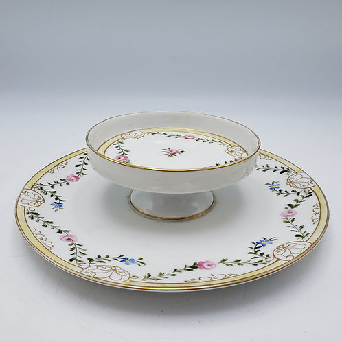 Vintage Handpainted Nippon Porcelain Plate Two Tiered
