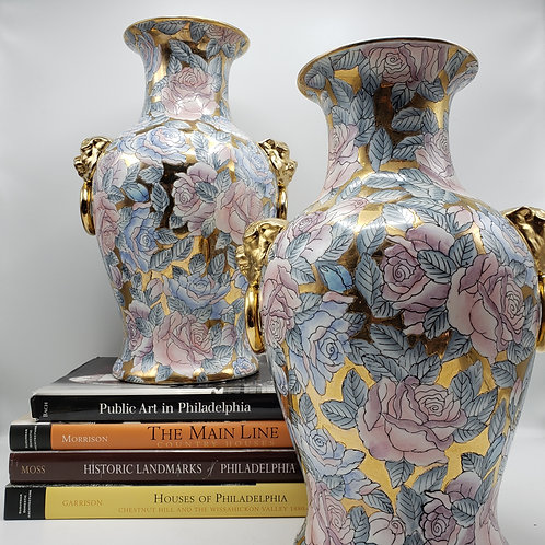 Pair of Vintage Asian Porcelain Vases with Gold Accents